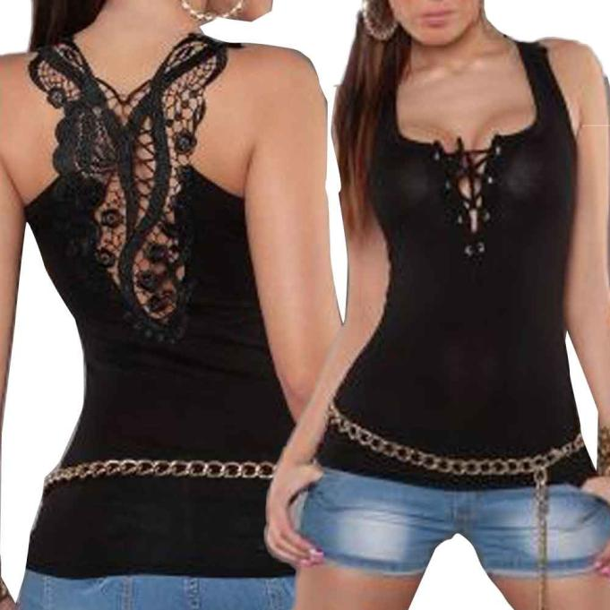 Women Bandage Tank Top Summer Sexy Lace Halter Top Fashion Sleeveless Camisole