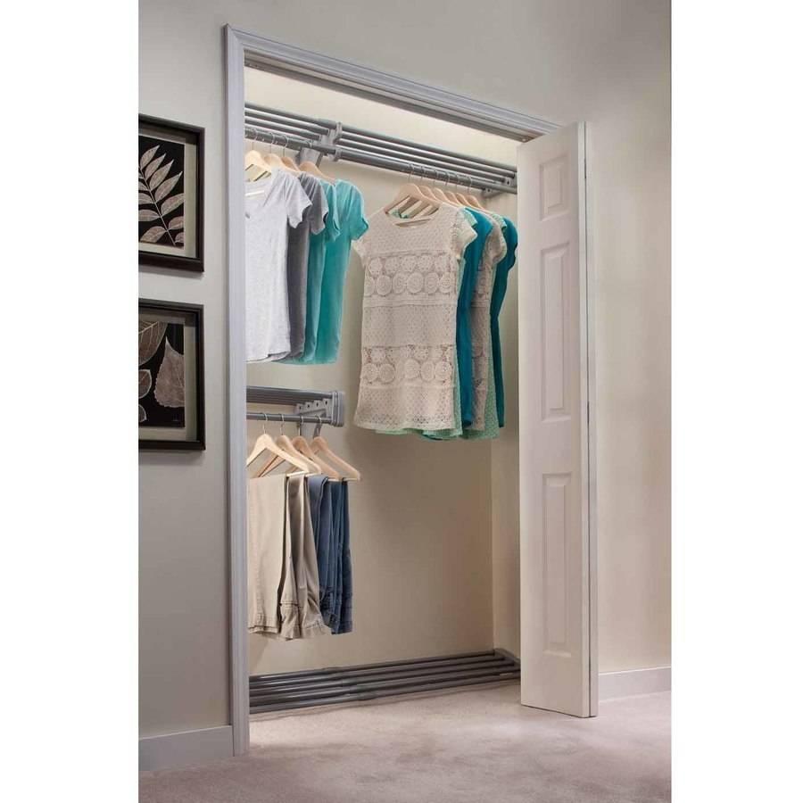EZ Shelf 18' Closet Organizer Kit, Up to 18.4' Hanging and Shelf Space, Silver