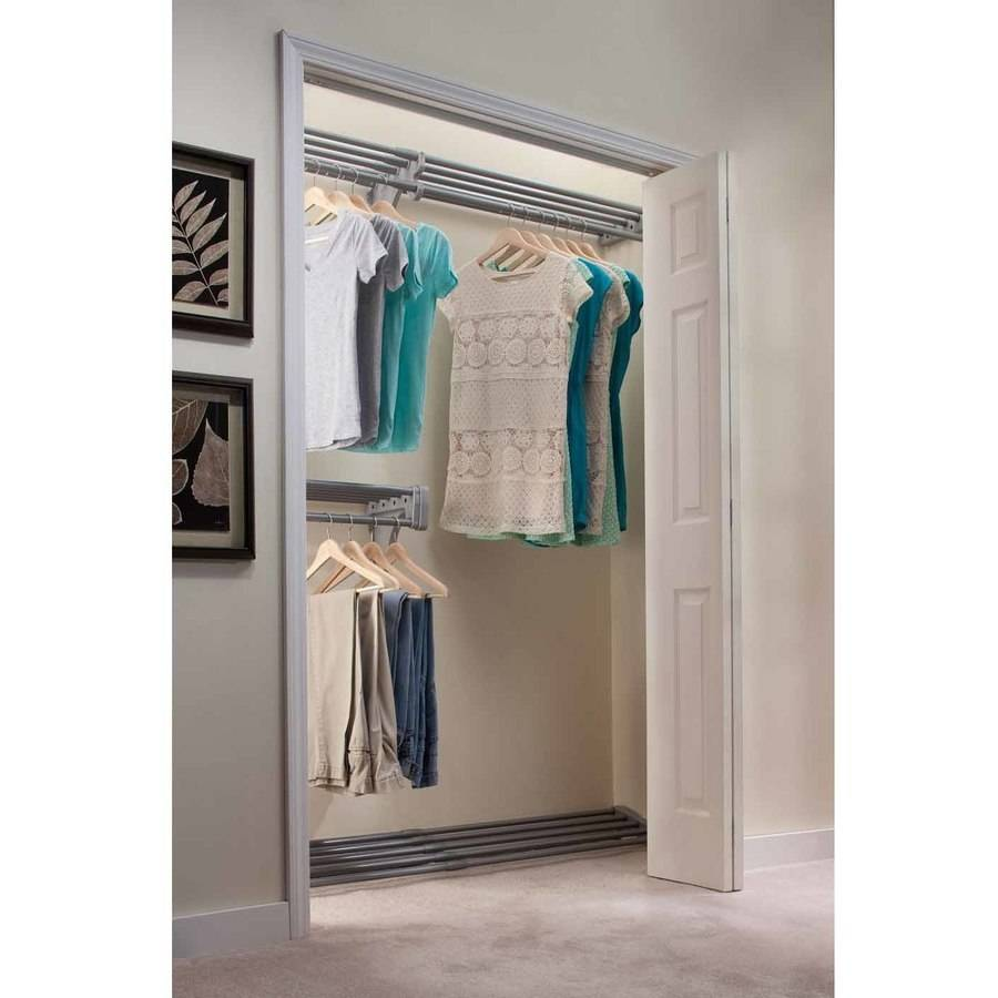 EZ Shelf 18' Closet Organizer Kit, Up to 18.4' Hanging and Shelf Space, Silver