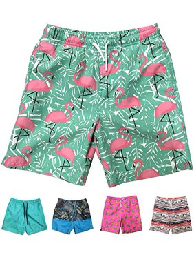 Little Boys Quick Dry Beach Board Shorts Swim Trunk Swimsuit Beach Shorts With Mesh Lining (Pink Flamingo, 12/14)