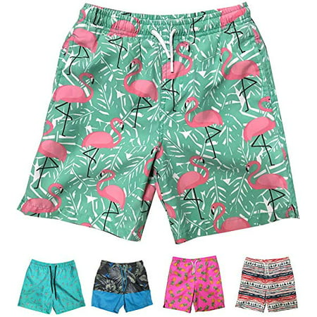 Little Boys Quick Dry Beach Board Shorts Swim Trunk Swimsuit Beach Shorts With Mesh Lining (Pink Flamingo, 12/14) Mesh Mens Swimsuit