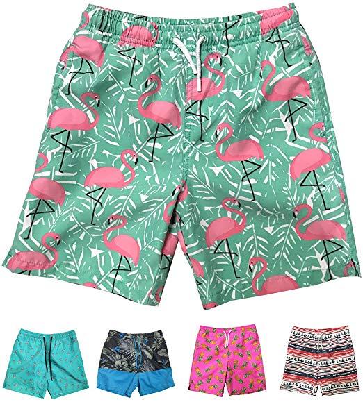 LKIMNJ Boys Board Shorts Bear Giraffe Quick Dry Bathing Suits Beach Board Shorts