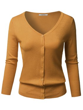 FashionOutfit Women's Solid Button Down V-Neck 3/4 Sleeves Knit Cardigan