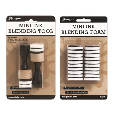 Ranger Mini Ink Blending Tool Set, Round (Mini Ink Blending Tool With Replacement Foams) ()