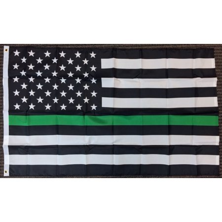3x5 Thin Green Line American Flag Border Patrol Park Ranger Wardens Military USA - Glow In The Dark Flag