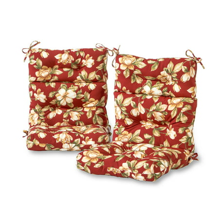 Floral Cushion (Greendale Home Fashions Roma Floral Outdoor High Back Chair Cushion, Set of 2 )