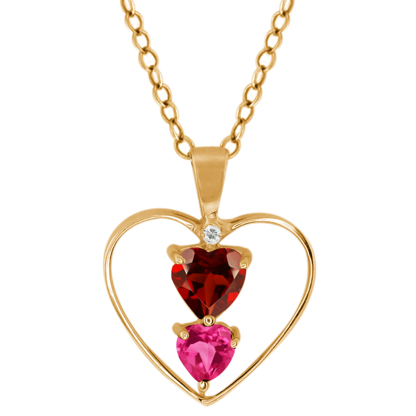 0.94 Ct Heart Shape Red Garnet Pink Mystic Topaz 18K Yellow Gold Pendant by
