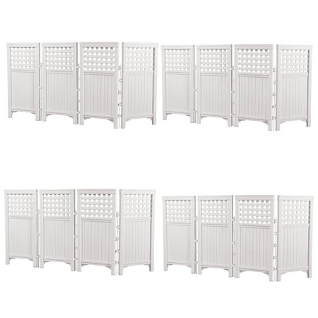 Suncast Outdoor Garden Yard 4 Panel Screen Enclosure Gated Fence, White (4 Pack) ()