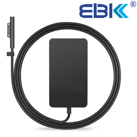 65W Charger for Microsoft Surface Pro 3 Pro 4 Surface Laptop Book Pro 5 2017, EBK 15V 4A Adapter with USB Charging Port and 6Ft Supply Power Cord Model