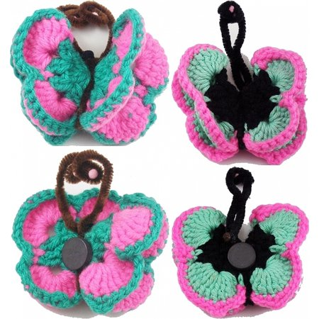 Crocheted Knit Wired Butterfly Magnet Set [Set of 2 - Green/Pink - (2 Magnet Set)