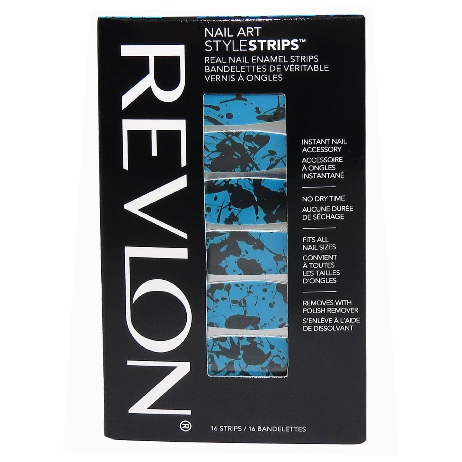 Revlon Nail Art Style Strips Blue and Black Paint Splatter