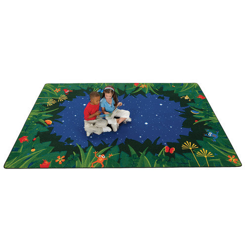 Carpets for Kids Printed Peaceful Tropical Night Blue Area Rug