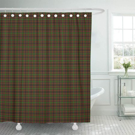 (PKNMT Green Abstract Patterned of The Clan Cumming Hunting Tartan Red Ancient Black Celtic Shower Curtain Bath Curtain 66x72 inch)