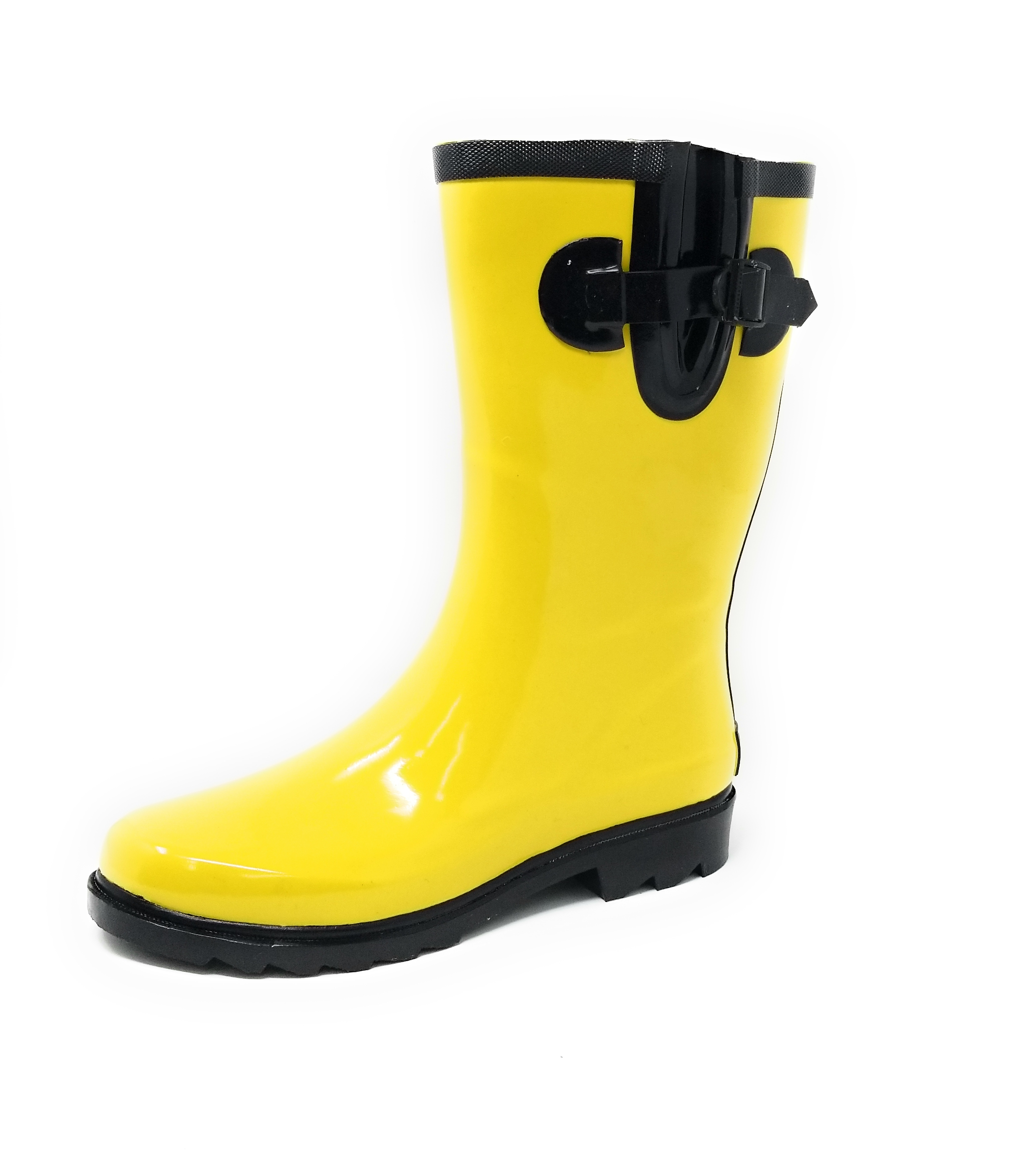 "Women Classic Mid-Calf 11"" Two-Tone Yellow & Black Wellies Waterproof Rubber Rain Boots Wellies Black 90918e"