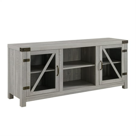 58 inch Rustic Farmhouse TV Stand with Glass Doors in Stone Grey ()