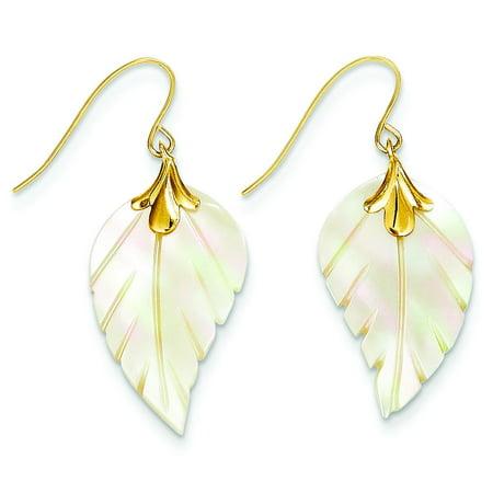 14K Gold Mother of Pearl Leaf Dangle Earrings 14k Gold Leaf Earrings