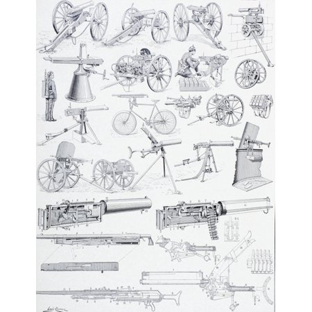Types Of Machine Guns And Their Mechanisms Just Prior To The First World War From Enciclopedia Ilustrada Segu Stretched Canvas - Ken Welsh  Design Pics (13 x (Different Types Of Guns In The World)
