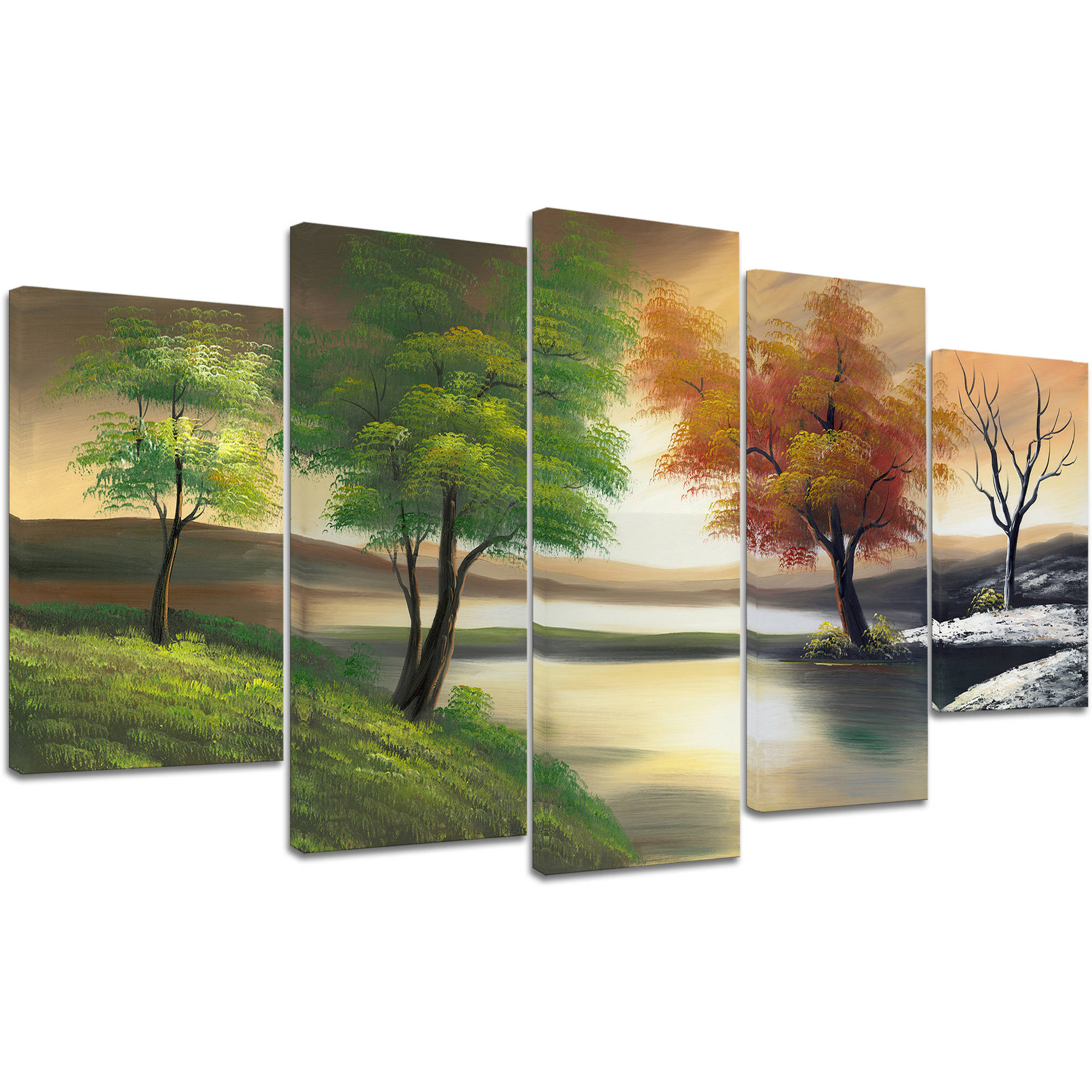 "Design Art Changing Seasons on the Lake Canvas Print, 5 Pieces, 60"" x 32"""