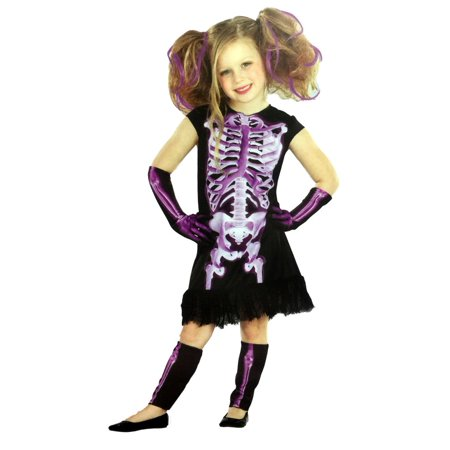Totally Ghoul Girls Purple Shocking Xray Halloween Costume Dress Up Outfit
