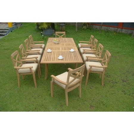 Teak Dining Set:10 Seater 11 Pc - Large 117