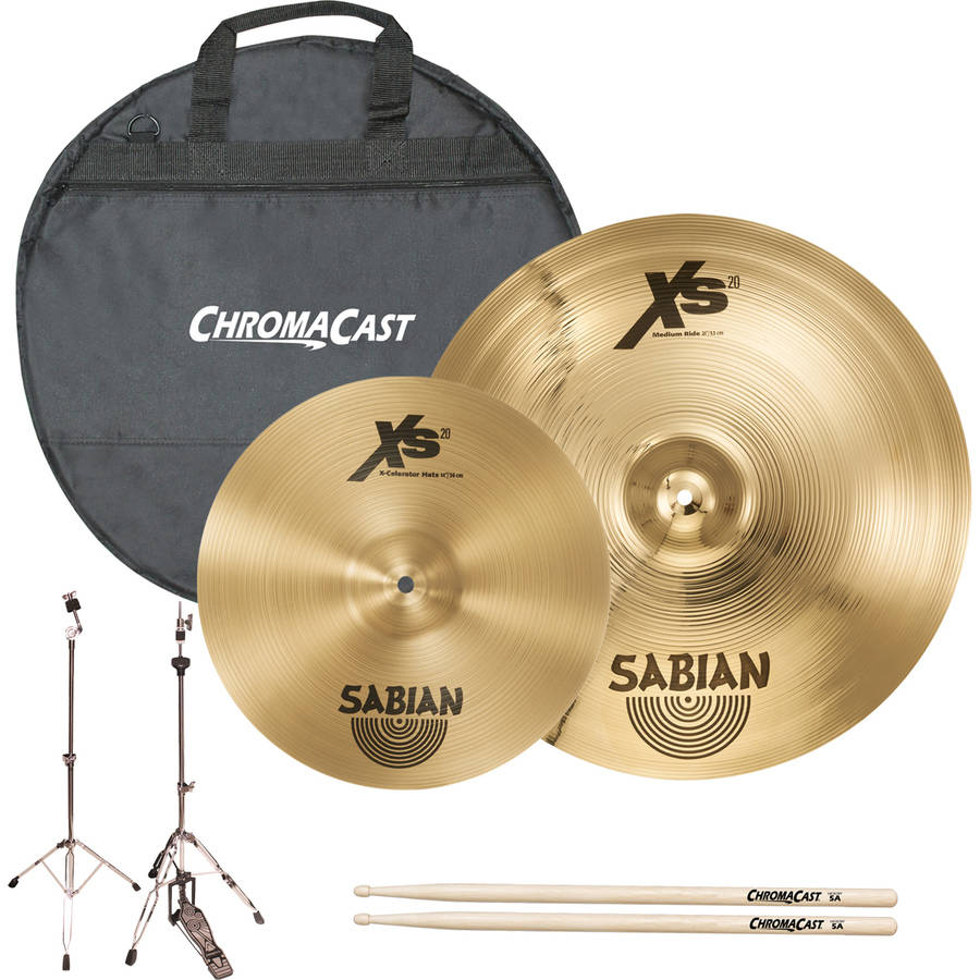 "Sabian Players Cymbal Set Kit Includes 14"" Hats, 21"" Medium Ride, ChromaCast Hardware, Cymbal Bag and Drumsticks"