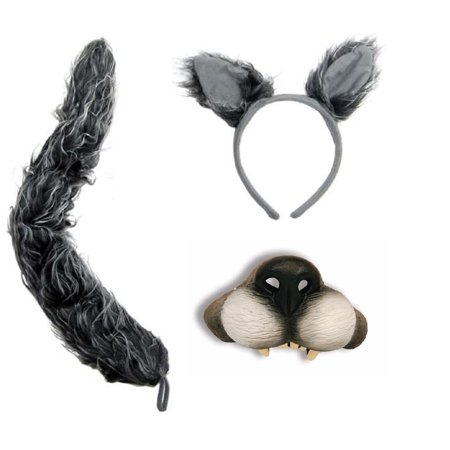 Big Bad Wolf Ears Tail Mini Nose Mask Werewolf Animal Wolfman Costume Kit Set (Halloween Cat Mask And Tail)