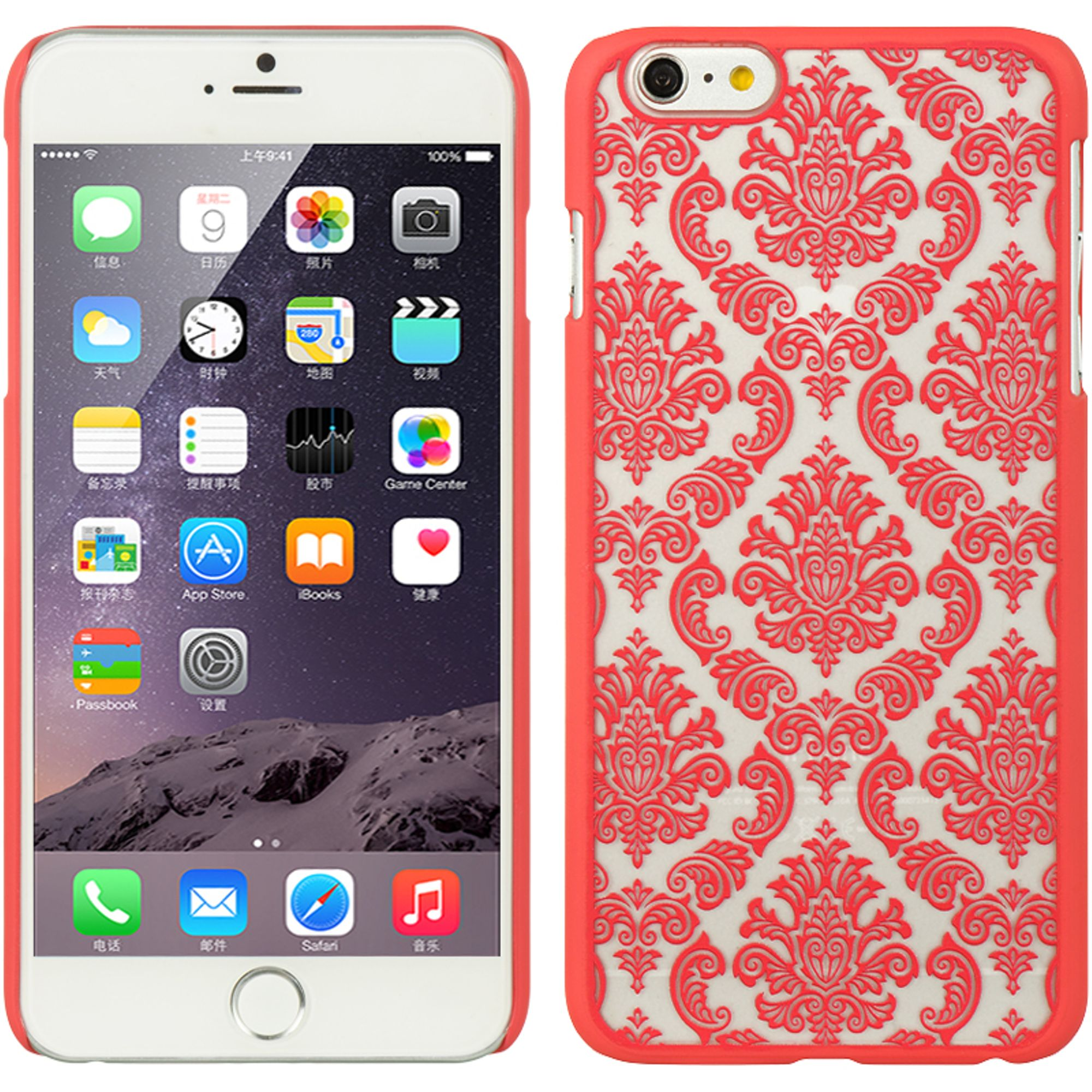 Insten Hard Rubberized Case for Apple iPhone 6s Plus / 6 Plus - Red/White
