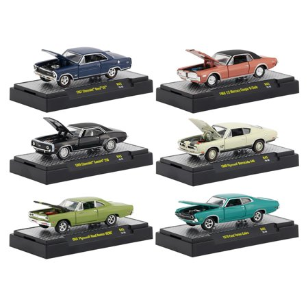 Detroit Muscle 6 Cars Set Release 45 IN DISPLAY CASES 1/64 Diecast Model Cars by M2 Machines (Detroit Muscle Cars)