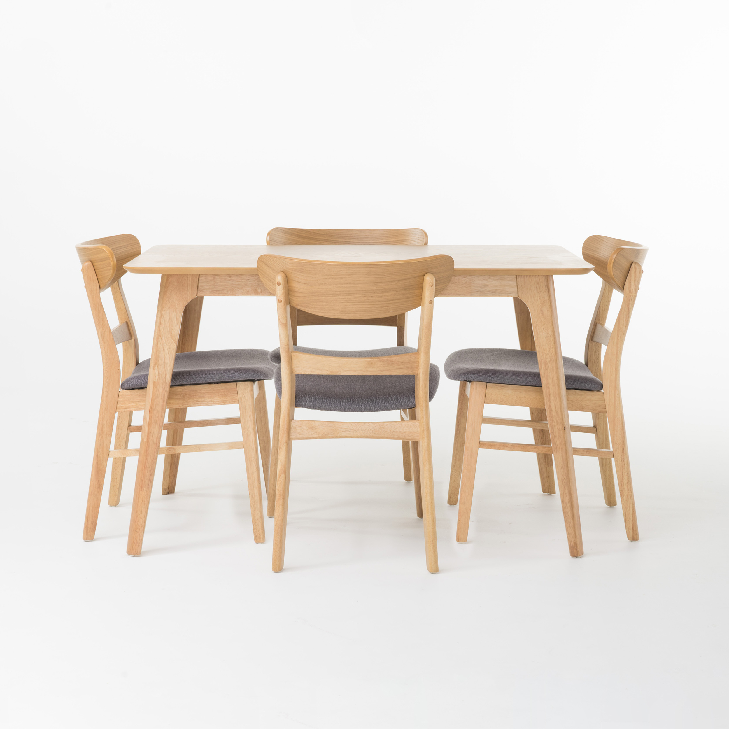 "Helen 5 Piece, 50"" Rectangular Natural Oak Finish Dining Set, Dark Grey Fabric"