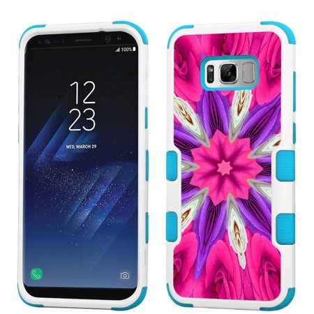 Hybrid Case for Samsung Galaxy S8 PLUS / S8+, OneToughShield ® 3-Layer Shock Absorbing Phone Case (White/Teal) - Kaleidoscope Rose