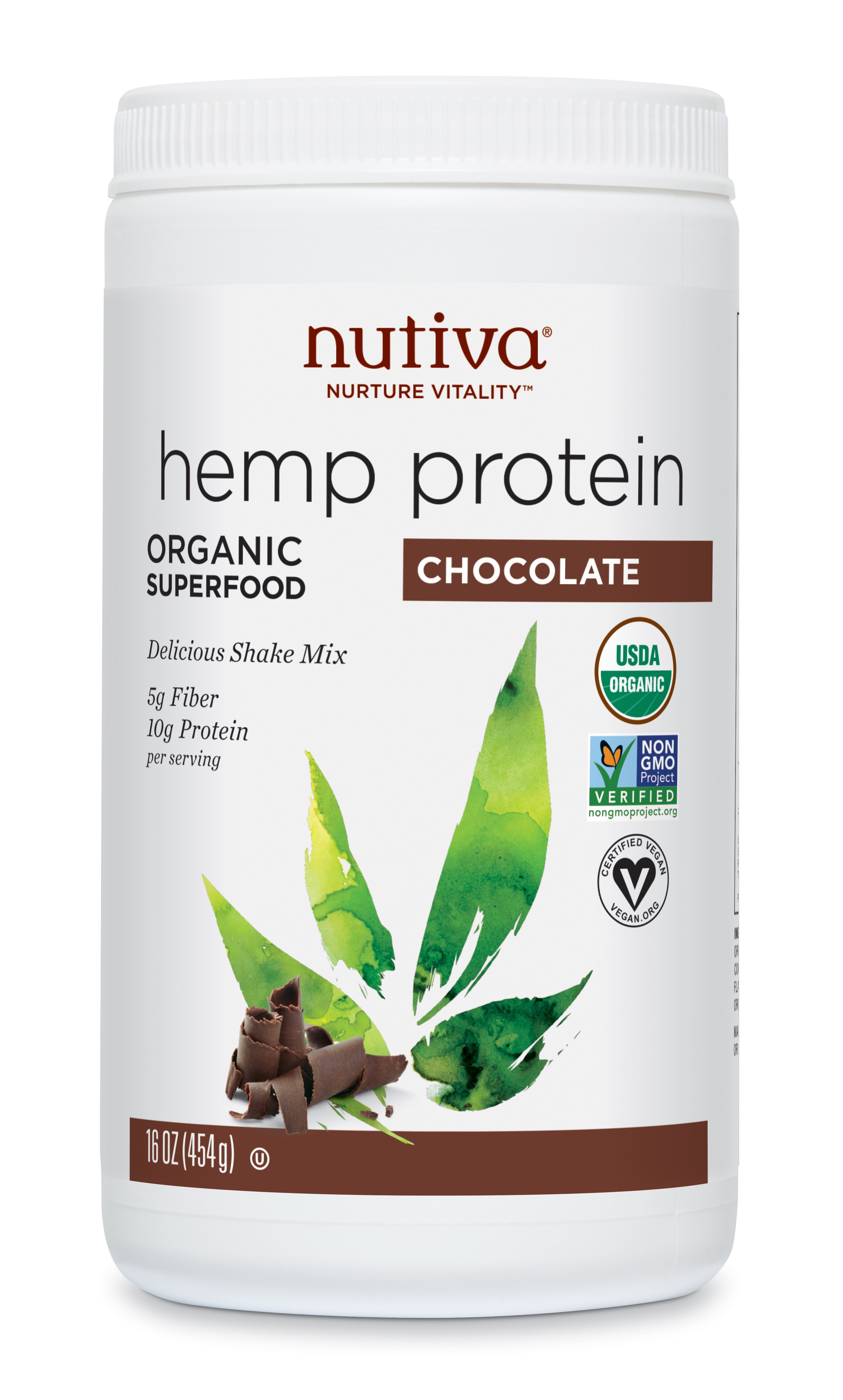 Nutiva Organic Hemp Protein Powder Chocolate 10g Protein 1 0lb 16 0oz Walmart Com Walmart Com