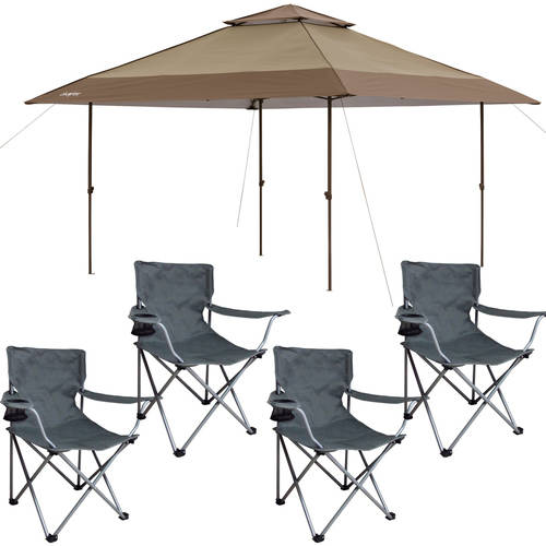 Chapter 13' x 13' Pagoda Instant Straight Leg Canopy with 4 Chairs Value Bundle