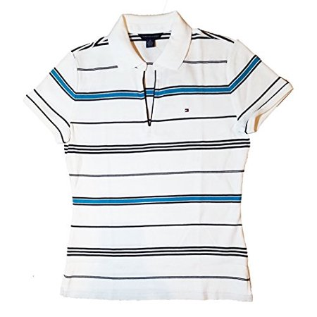 Tommy Hilfiger Womens Emma Classic Polo Shirt White & Masters Navy Large