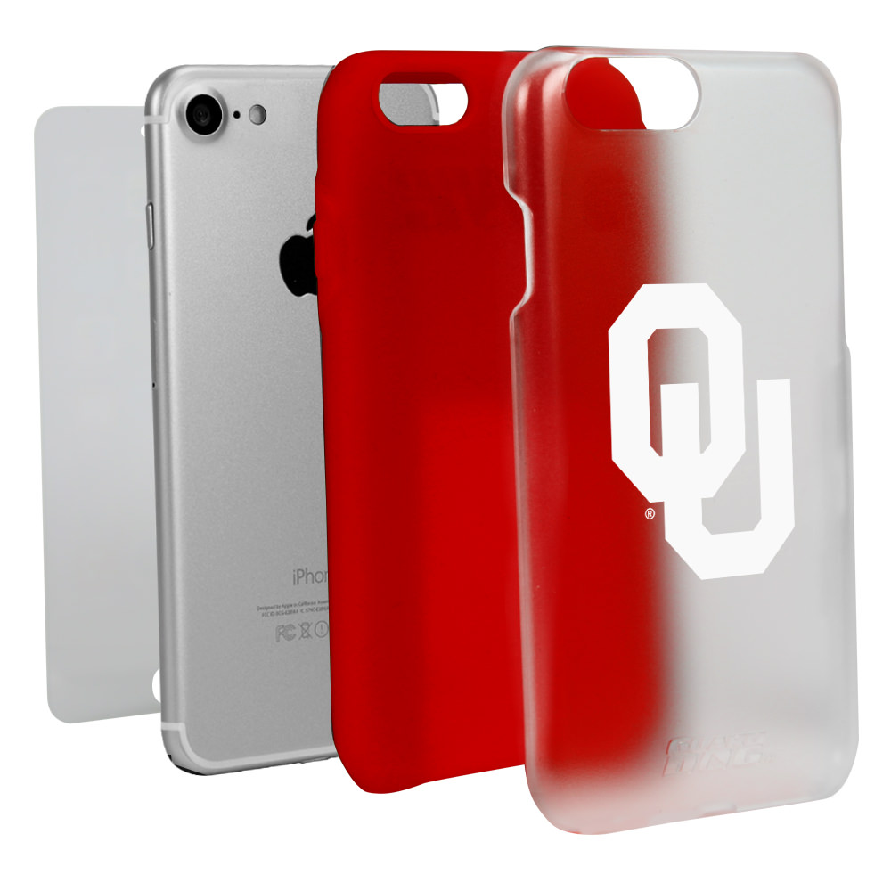Oklahoma Sooners Clear with Red Hybrid Case for iPhone 7/8 with Guard Glass Screen Protector NCAA