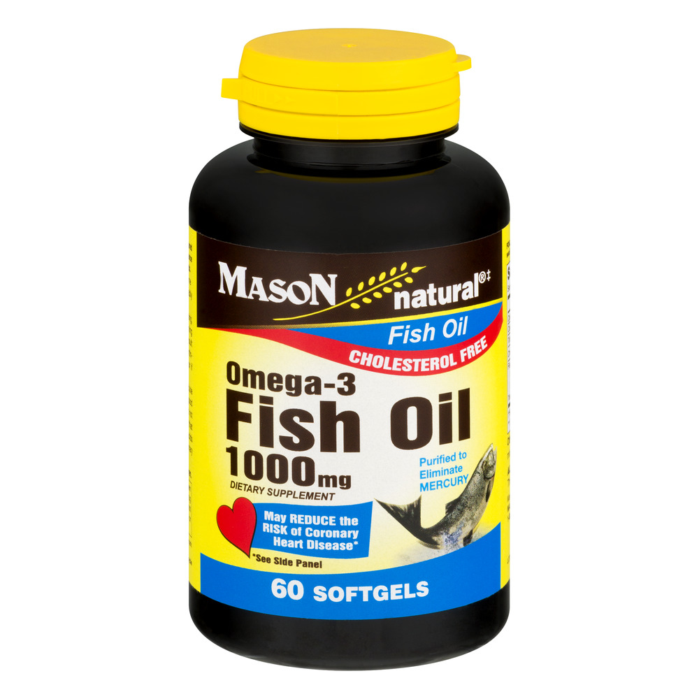 Mason Natural Omega-3 Fish Oil Softgels, 1000mg, 60 Ct