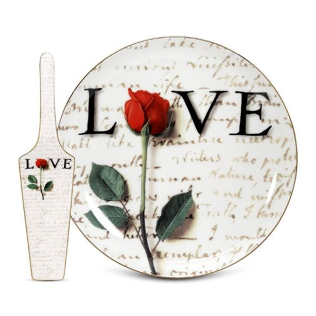Arjang & Co PS-7404 Love Letters Cake Plate with Server