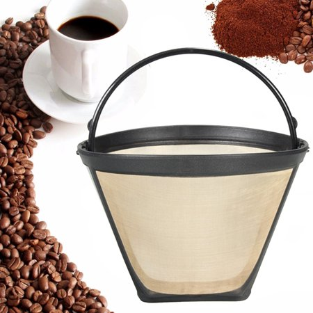 Replacemnt Permanent Reusable size 4 #4 Cone Shape Coffee Filter Stainless Mesh Basket Gold Tone 10-12 Cup Capacity