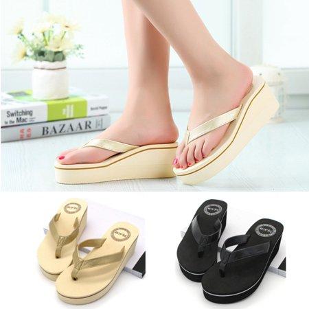 c03daee77a1 Summer Fashion Women Platform Mid Heel Wedge Thong Flip Flops Sandals Beach  Shoes - Walmart.com