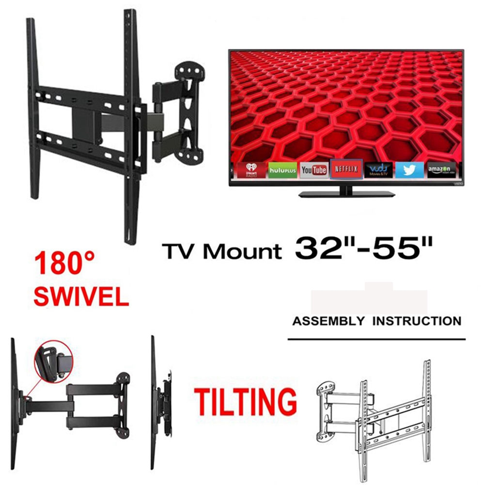 UNHO Full Motion TV Wall Mount Universal Cantilever Tilting Bracket Articulating Arm for 22-50 Inch LCD LED TVs