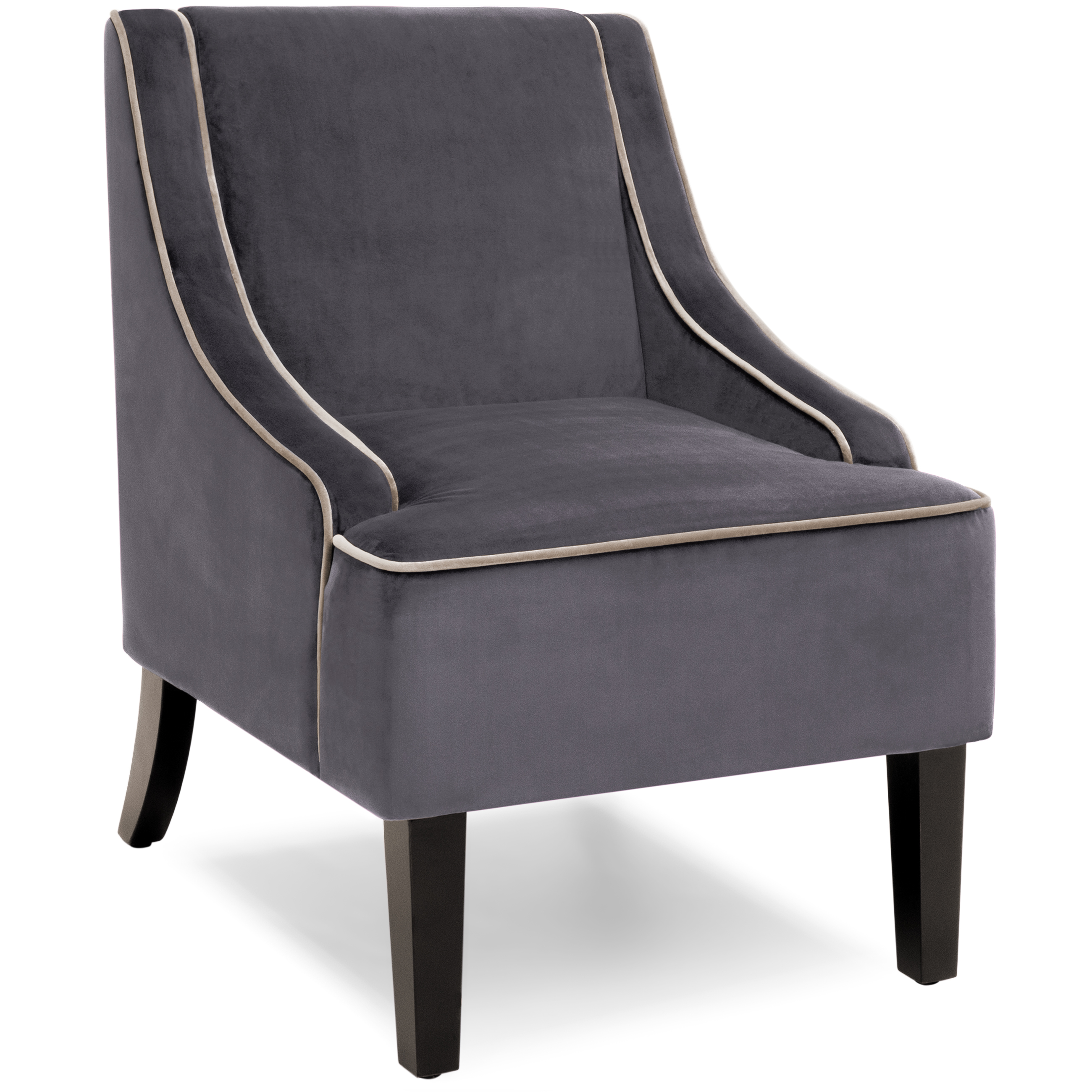 Best Choice Products Microfiber Accent Chair w/ Tapered Wood Legs (Gray)
