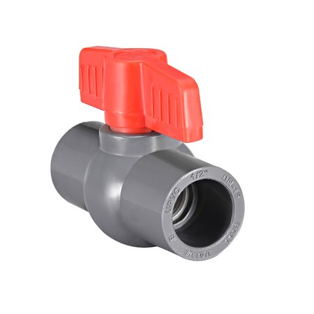 "PVC Ball Valve Water Supply Pipe Knob Tap Faucet Slip Ends 1/2"" Inner Hole Diameter Red Gray - image 3 of 3"
