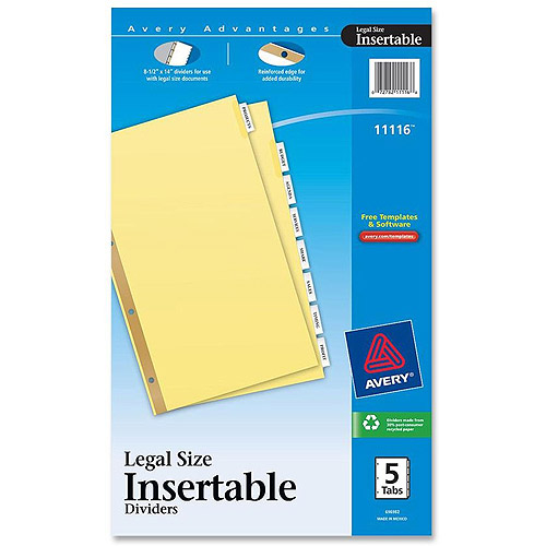 Avery Worksaver Standard 4-Hole Insertable Tab Dividers