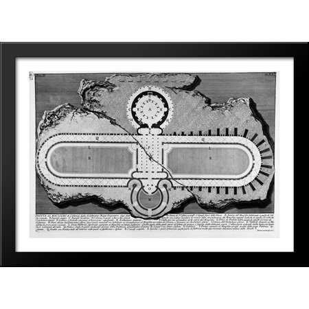 The Roman antiquities, t. 2, Plate XXI. Urn of marble found in the burial chamber above (figures carved from Barbault) 40x28 Large Black Wood Framed Print Art by Giovanni Battista Piranesi