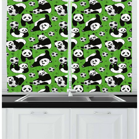 Soccer Curtains 2 Panels Set, Funny Panda Animals Playing with Balls Hand Drawn Style Hearts and Stars, Window Drapes for Living Room Bedroom, 55W X 39L Inches, Lime Green Black White, by