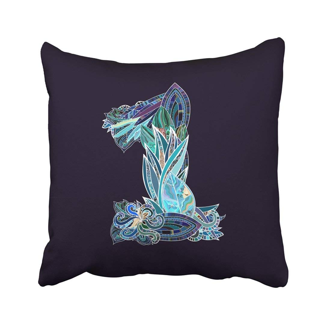 BPBOP Blue Abstract Hand Drawn Floral Number 1 Purple Alphabet Celebration Character Doodle Pillowcase Pillow Cover 18x18 inches