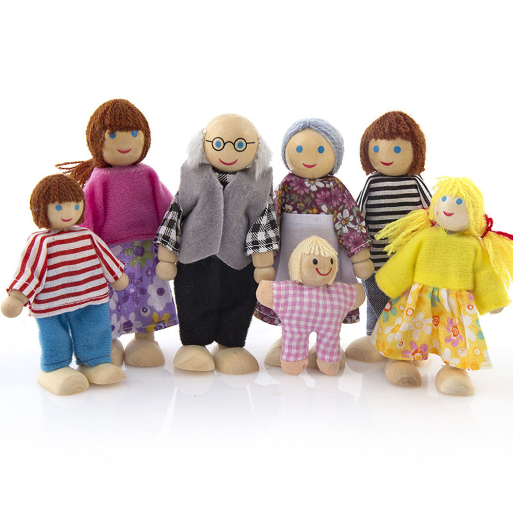 Womail Wooden Furniture Dolls House Family Miniature 7 People Doll Toy For Kid Child