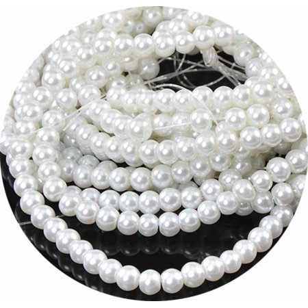 6mm Round 500 Glass Pearl, Loose Beads, 0ff White