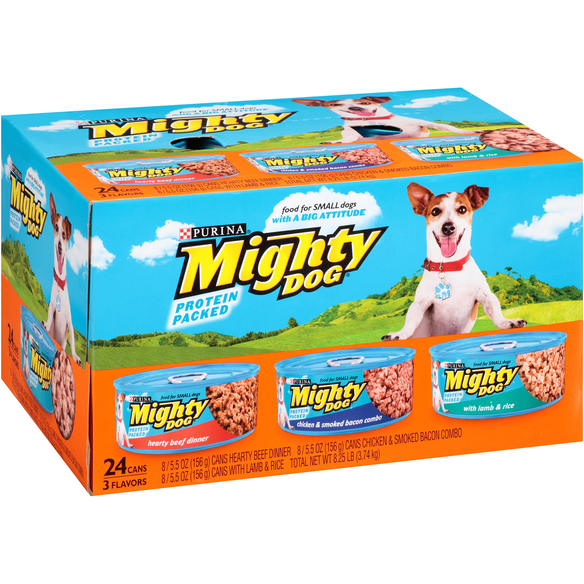 Purina Mighty Dog Hearty Beef Dinner/Chicken & Smoked Bacon Combo/With Lamb & Rice Dog Food 24-5.5 oz. Cans