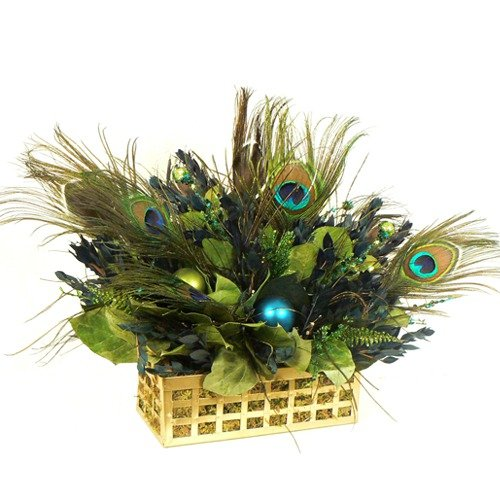 Urban Florals Regal Peacock Table Top Basket