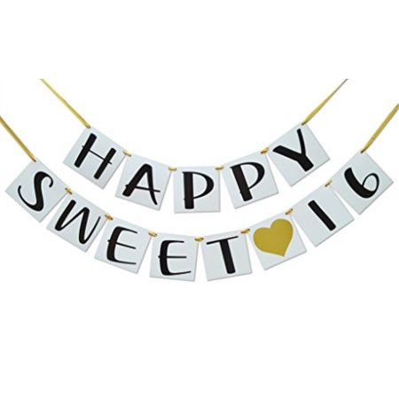 Sweet 16 Birthday Banner - Gold Hearts and Ribbon - Sweet Sixteen Decoration